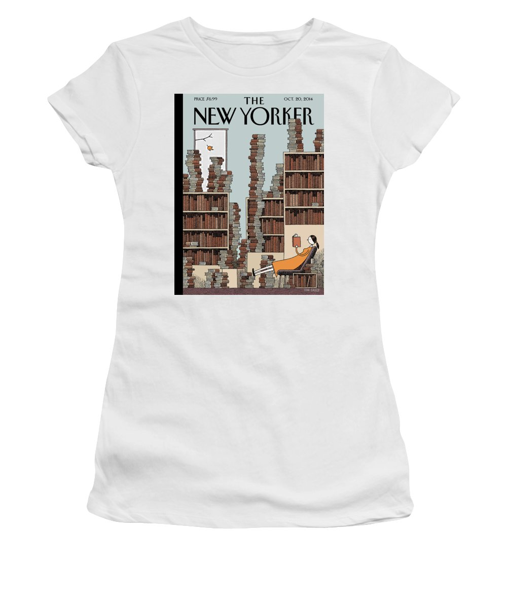Books Women's T-Shirt featuring the painting Fall Library by Tom Gauld