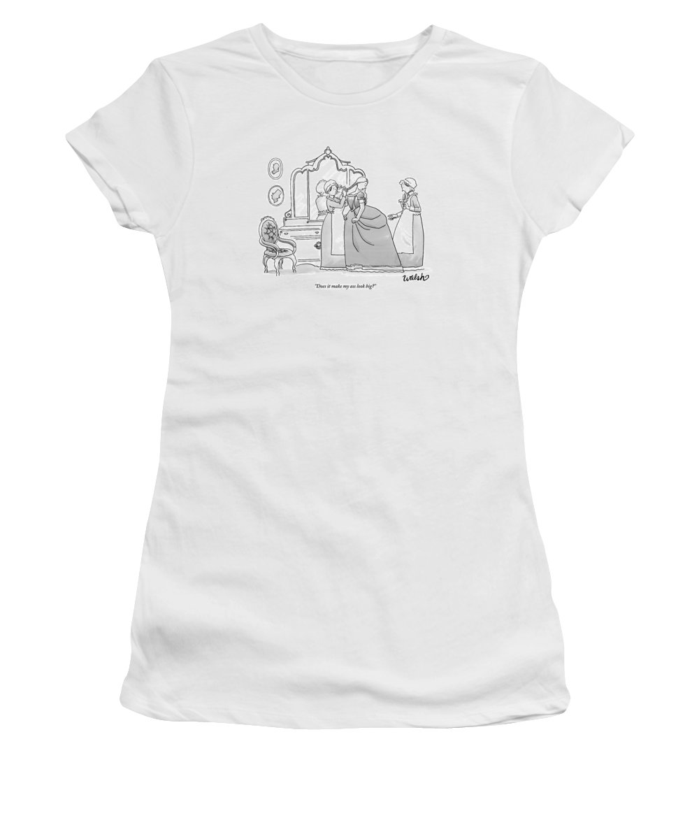 Women's Clothing Women's T-Shirt featuring the drawing A Woman Trying On A Dress Addresses by Liam Walsh