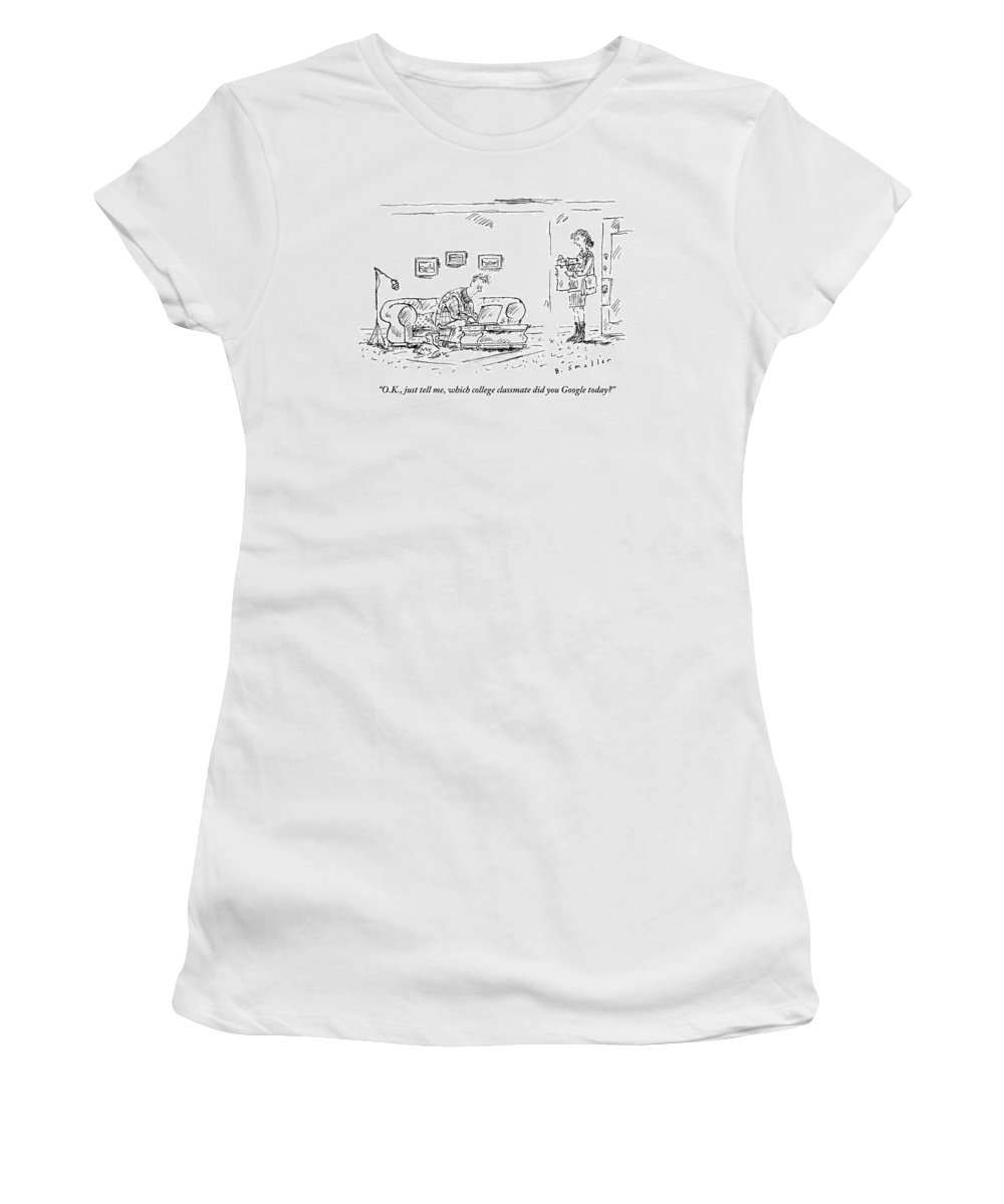 Google Women's T-Shirt featuring the drawing A Woman With Groceries Stands In The Doorway by Barbara Smaller