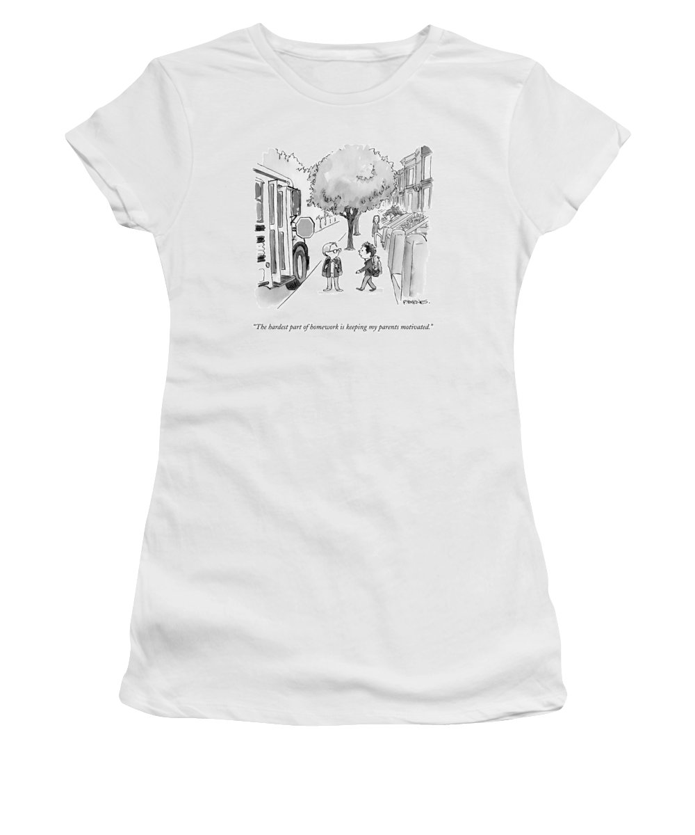 Homework Women's T-Shirt featuring the drawing A Young Boy Talks To His Friend As They Board by Pat Byrnes