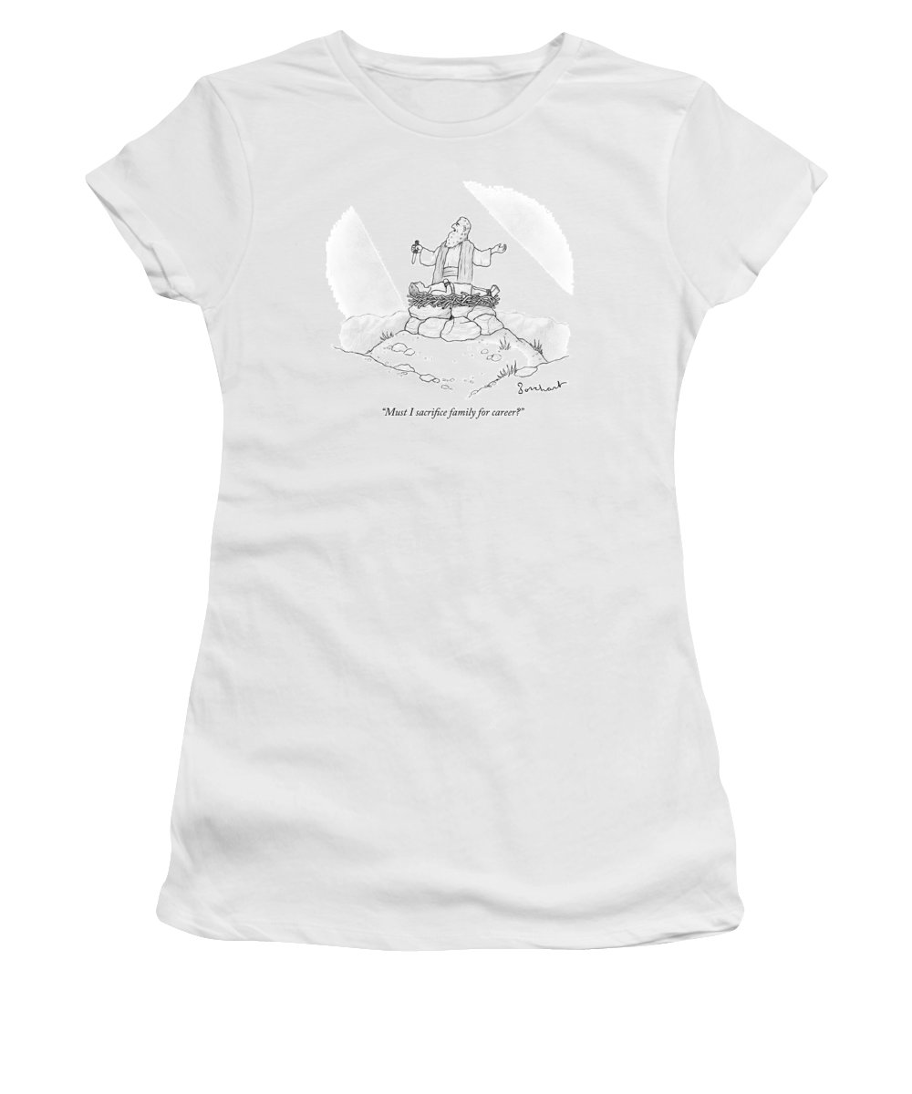Abraham Women's T-Shirt featuring the drawing Abraham Is About To Sacrifice His Son by David Borchart
