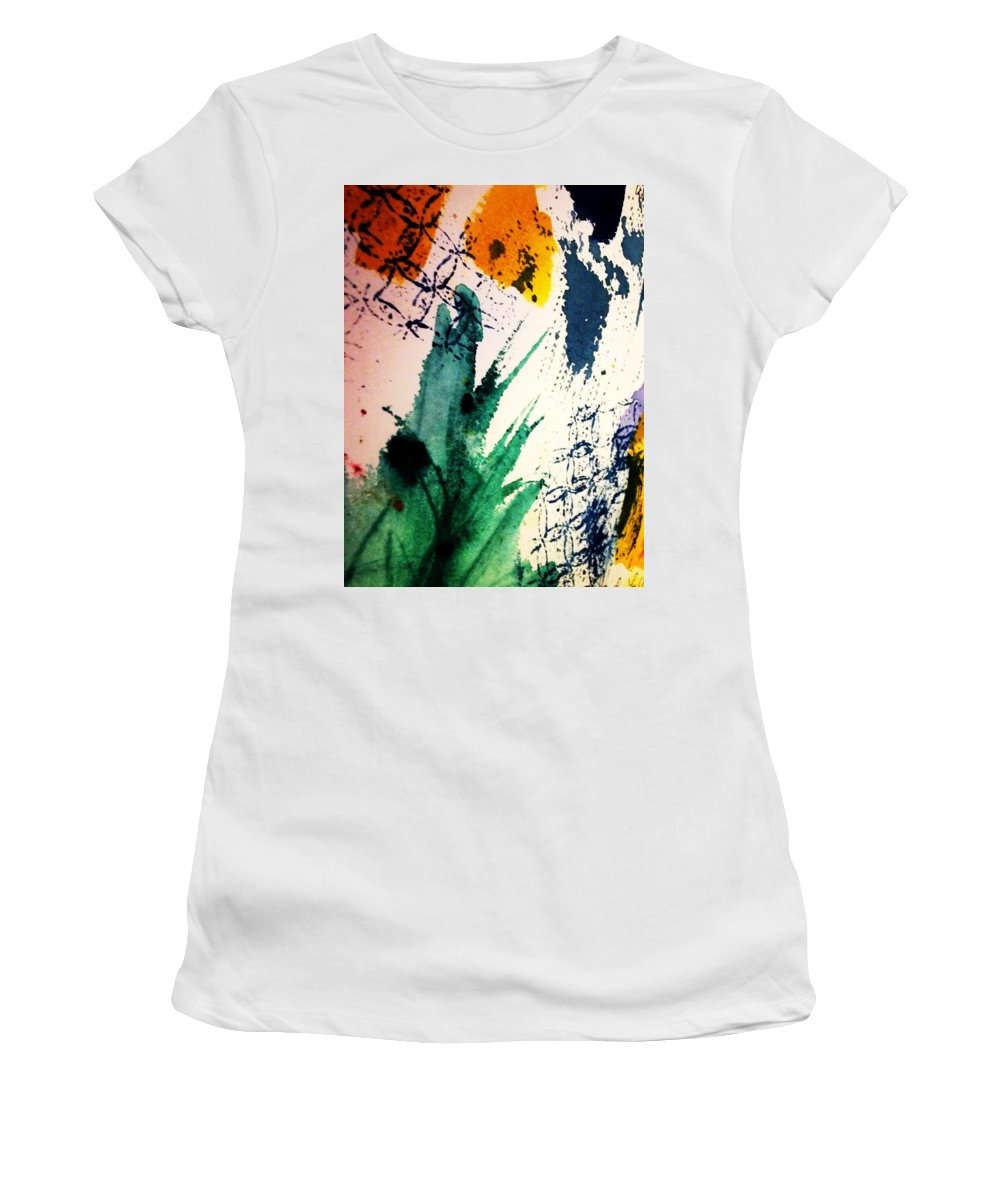 Splashes Of Color Women's T-Shirt featuring the painting Abstract - Splashes Of Color by Ellen Levinson