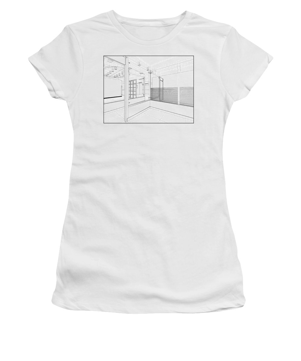 Building Women's T-Shirt featuring the digital art Abstract Interior Construction by Nenad Cerovic