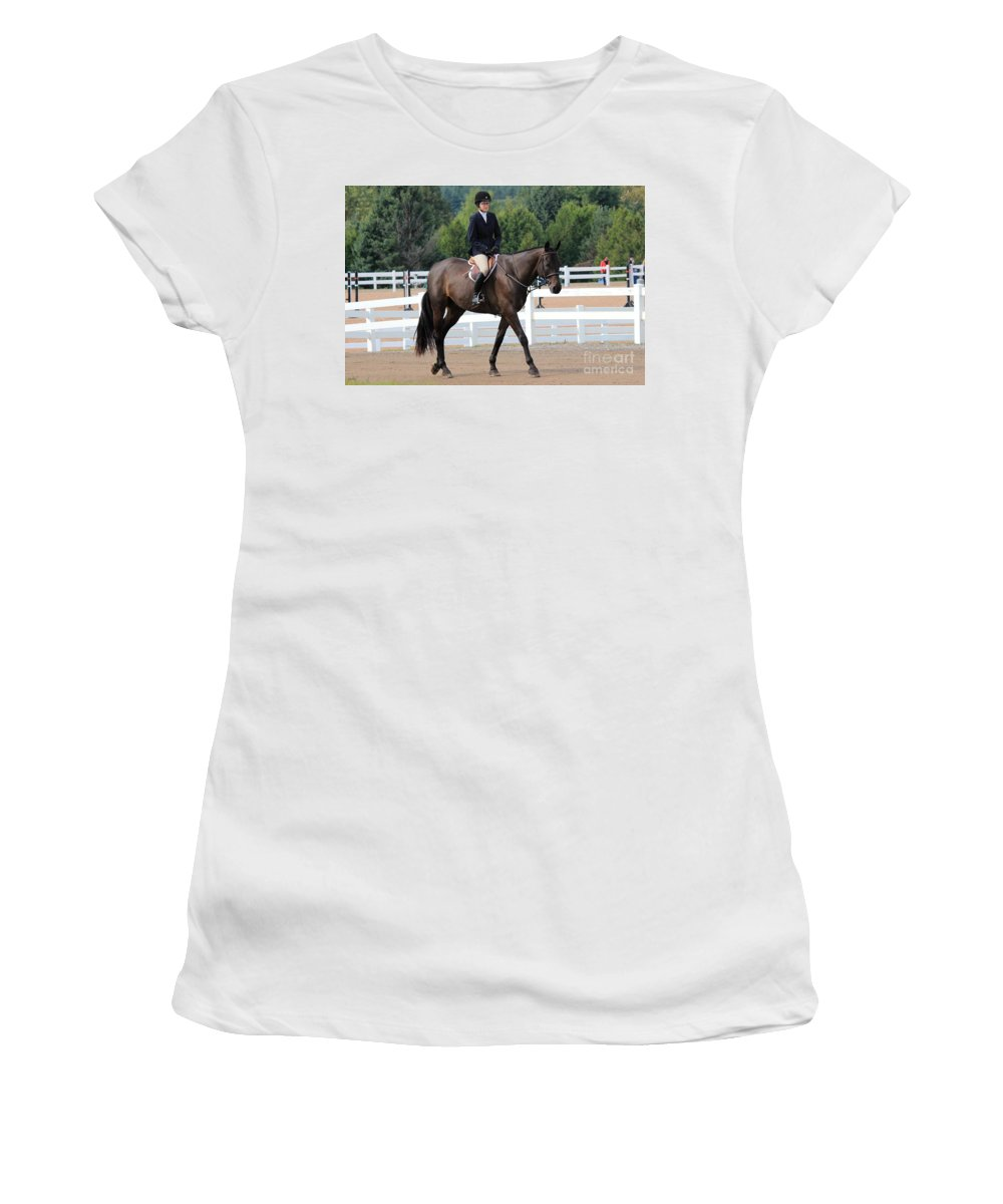 Horse Women's T-Shirt (Athletic Fit) featuring the photograph Ac-hunter19 by Janice Byer