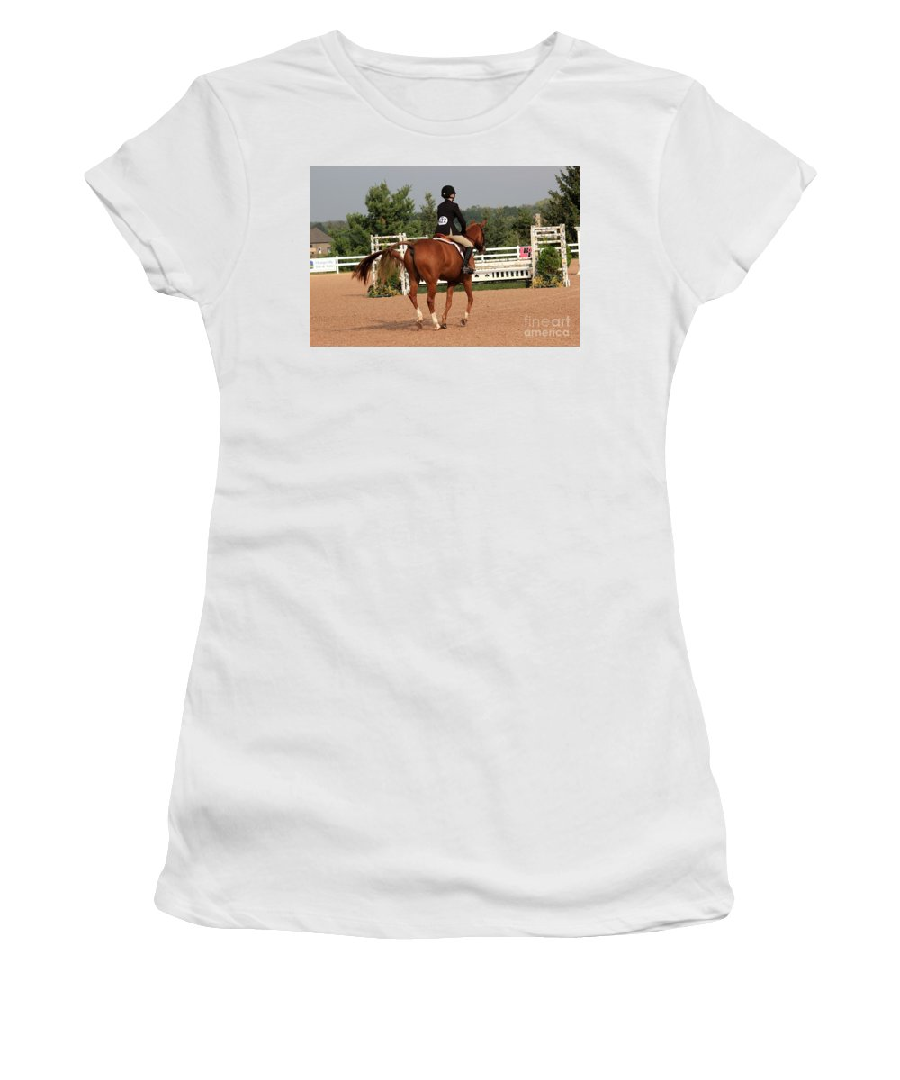Horse Women's T-Shirt (Athletic Fit) featuring the photograph Ac-hunter6 by Janice Byer