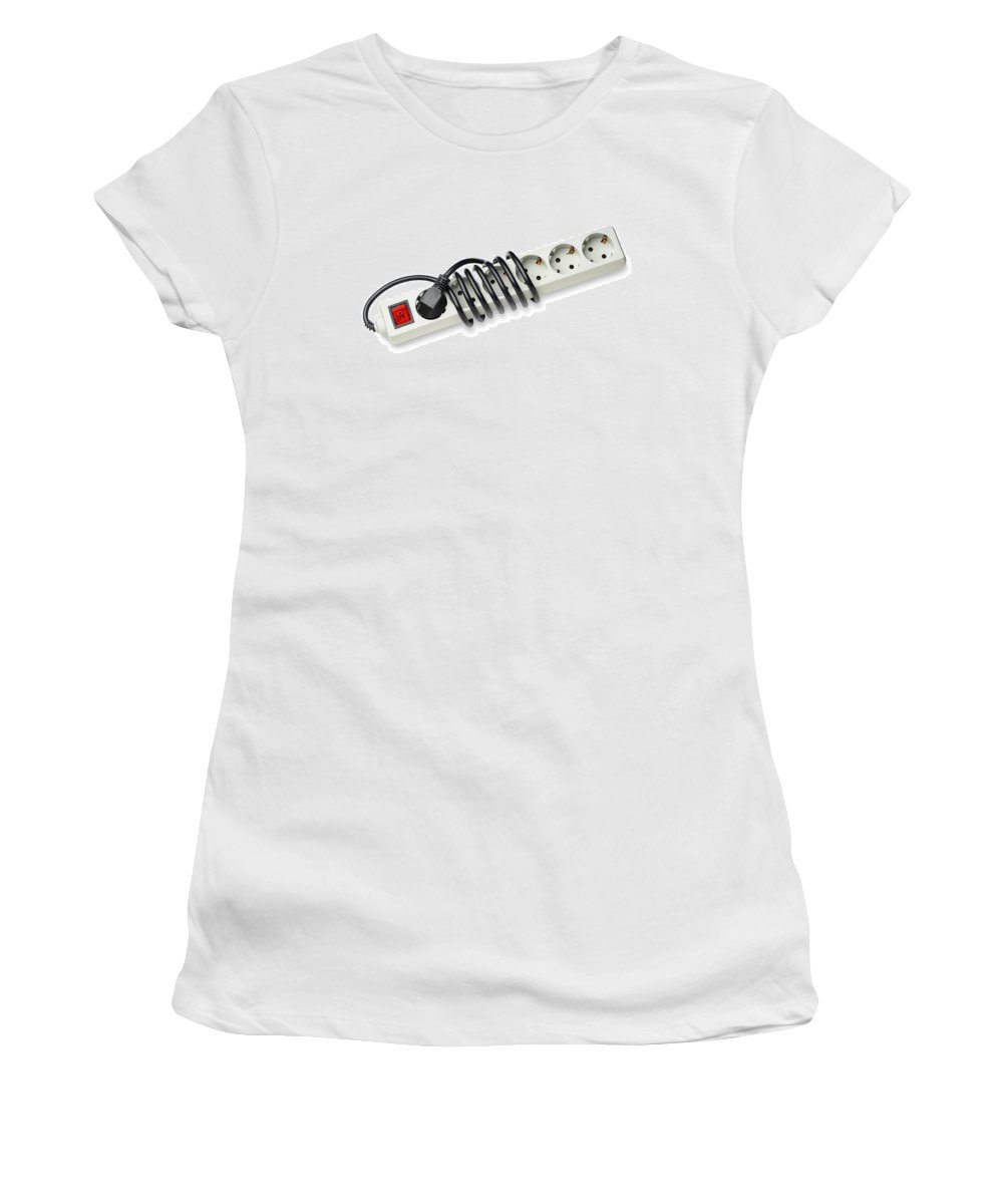 Europe Women's T-Shirt featuring the photograph Ac Power Plug And Sockets by Alain De Maximy
