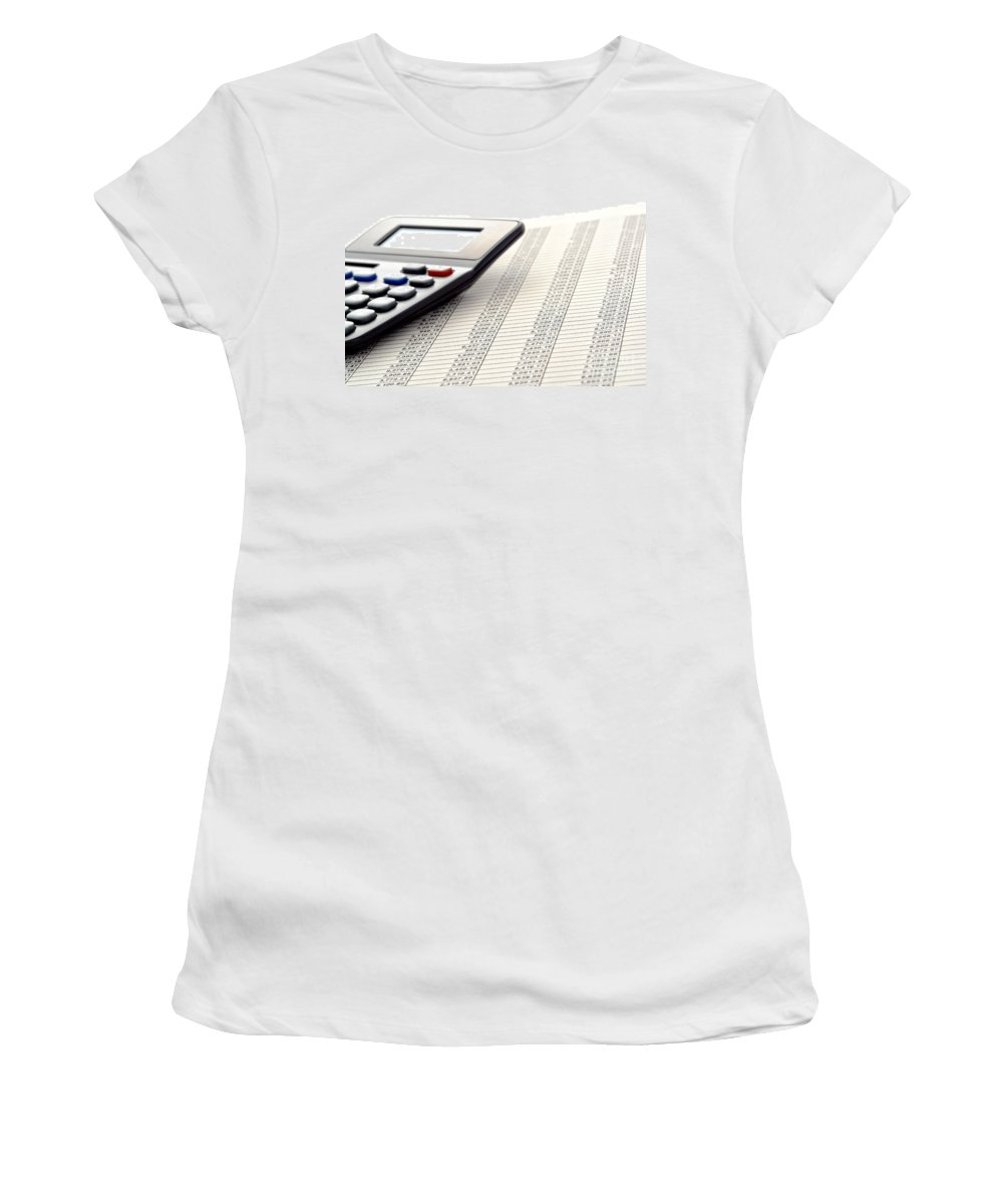 Calculator Women's T-Shirt featuring the photograph Accounting by Olivier Le Queinec