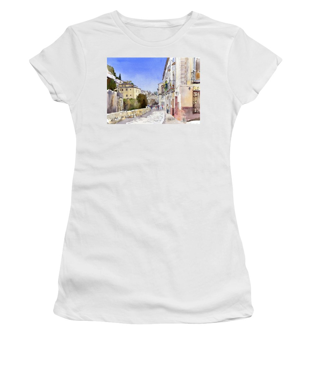 Watercolor Women's T-Shirt (Athletic Fit) featuring the painting Acera Del Darro by Margaret Merry
