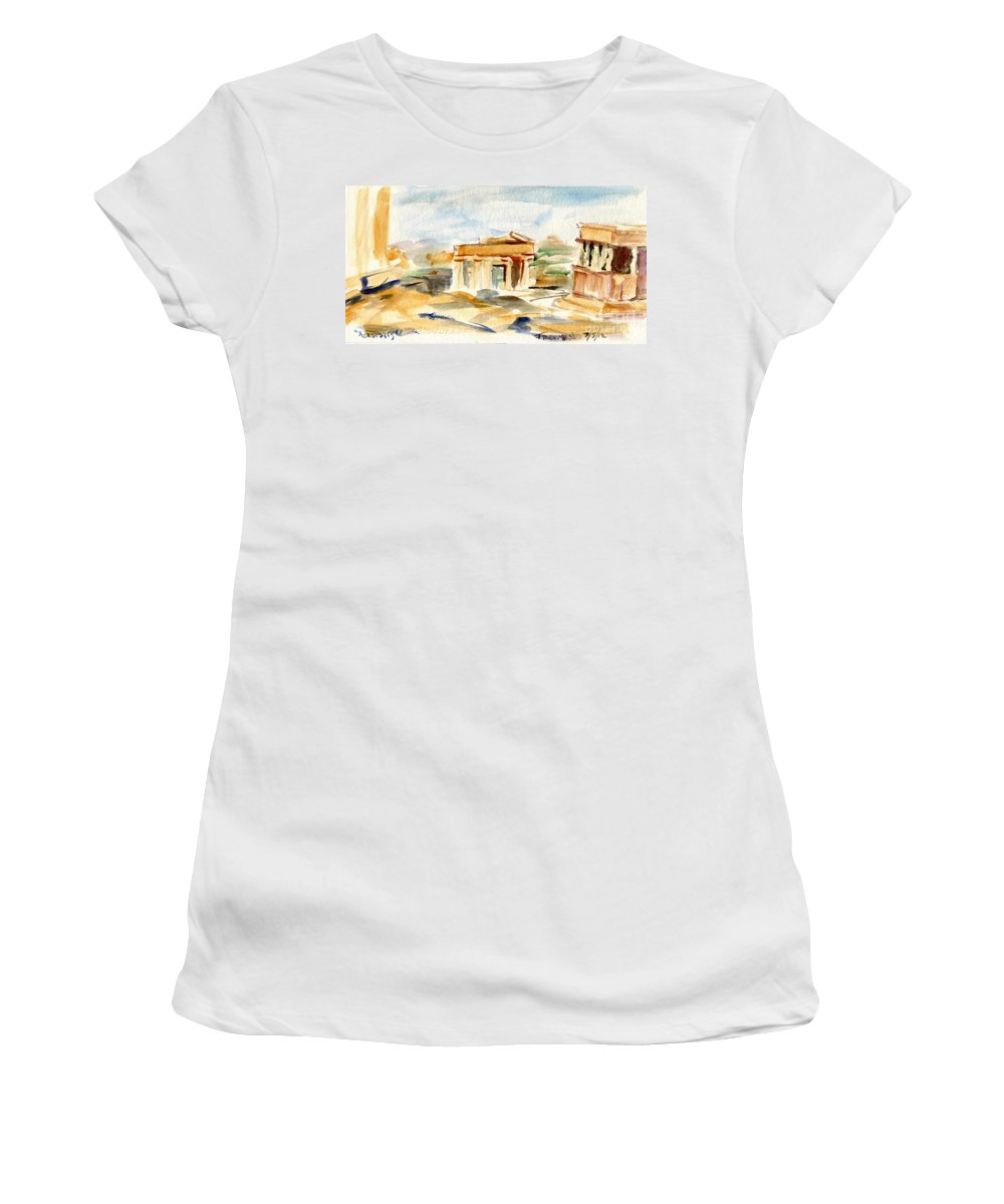 Acropolis Women's T-Shirt featuring the painting Acropolis by Valerie Freeman