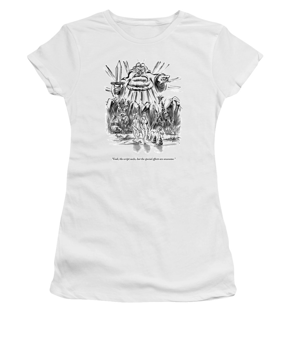 Adam And Eve Women's T-Shirt featuring the drawing Adam And Eve Are Seen Walking In The Garden by Lee Lorenz