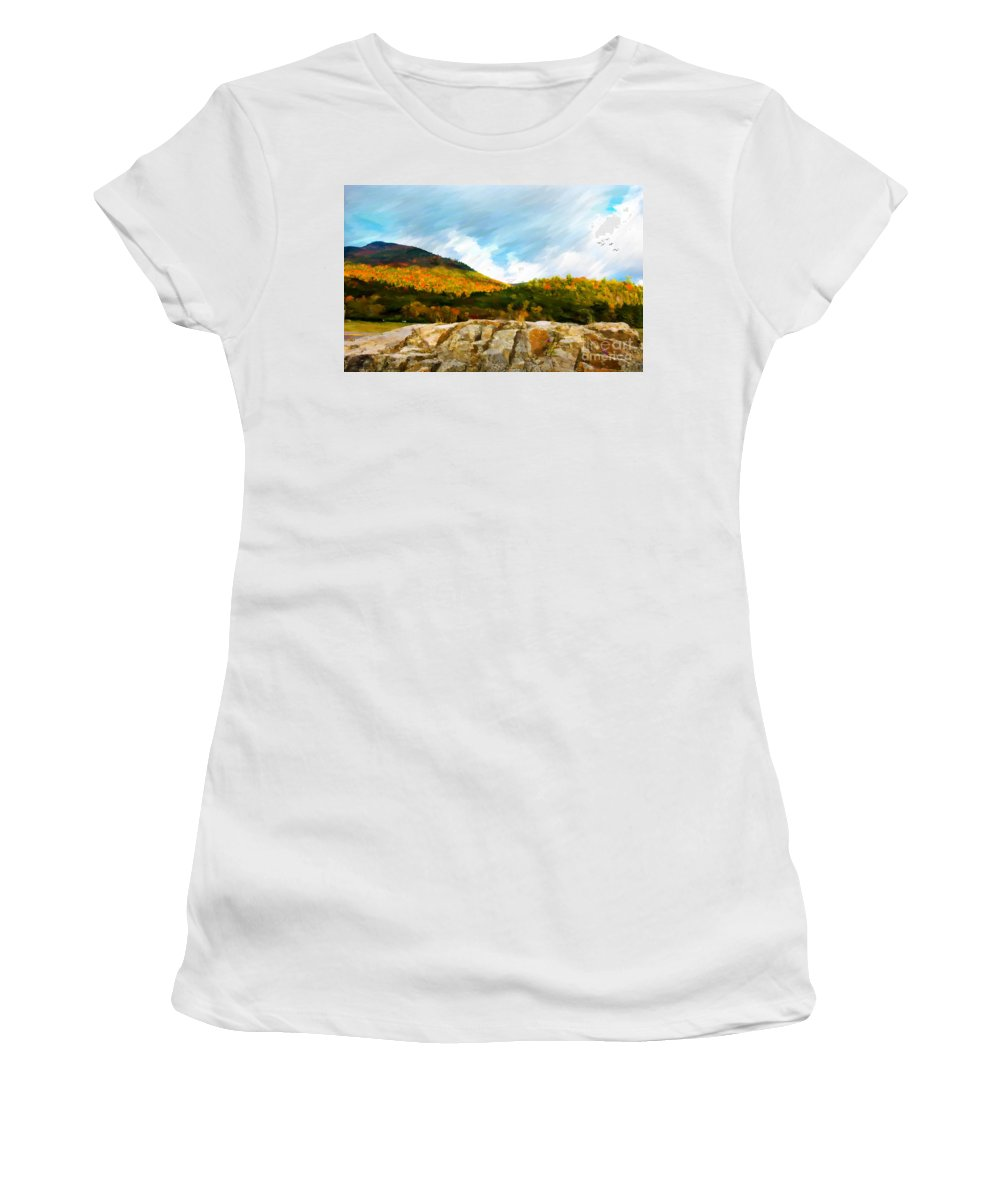 Green Mountains Women's T-Shirt (Athletic Fit) featuring the photograph Adirondack Autumn by Betty LaRue