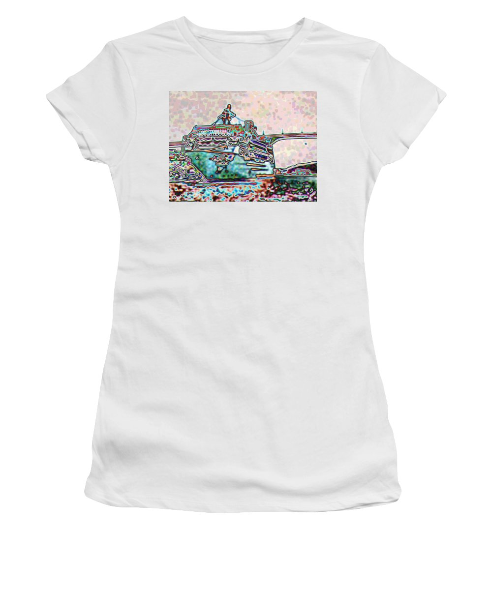 Colorful Women's T-Shirt featuring the digital art Adjacent by John Holfinger