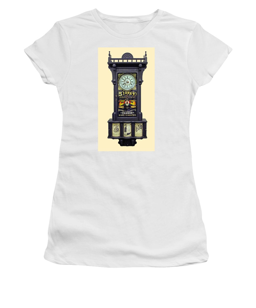 Advertising Clock Women's T-Shirt (Athletic Fit) featuring the photograph Advertising Clock by Dave Mills