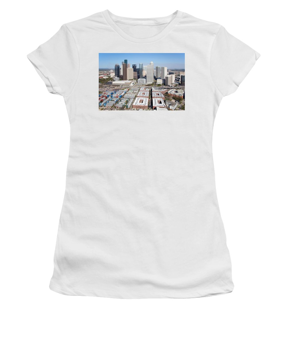 Houston Women's T-Shirt (Athletic Fit) featuring the photograph Aerial Of The Houston Skyline by Bill Cobb