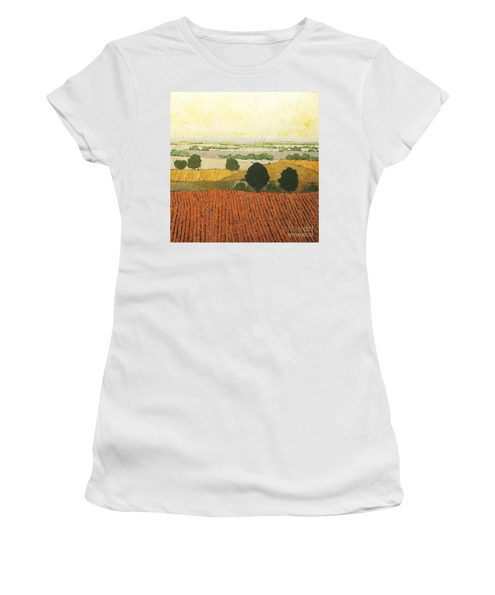 Landscape Women's T-Shirt featuring the painting After Harvest by Allan P Friedlander