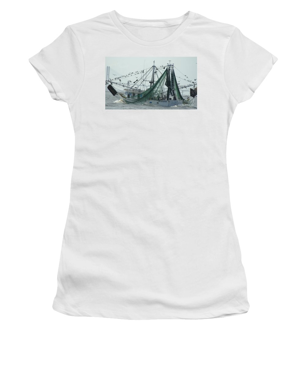 Shrimp Boat Women's T-Shirt (Athletic Fit) featuring the photograph After The Catch by Evelyn Hill