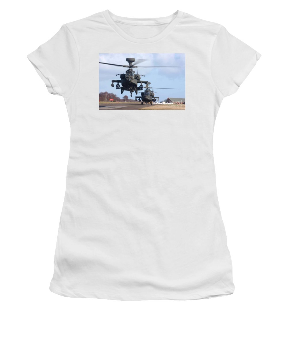 Aircraft Women's T-Shirt featuring the photograph Ah64d Apache Longbow Helicopters by Paul Fearn