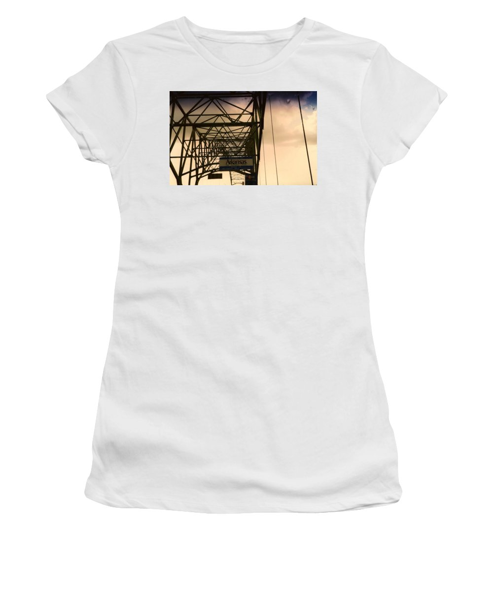 Bridge Women's T-Shirt (Athletic Fit) featuring the photograph Akansas Here We Come by Chris W Photography AKA Christian Wilson