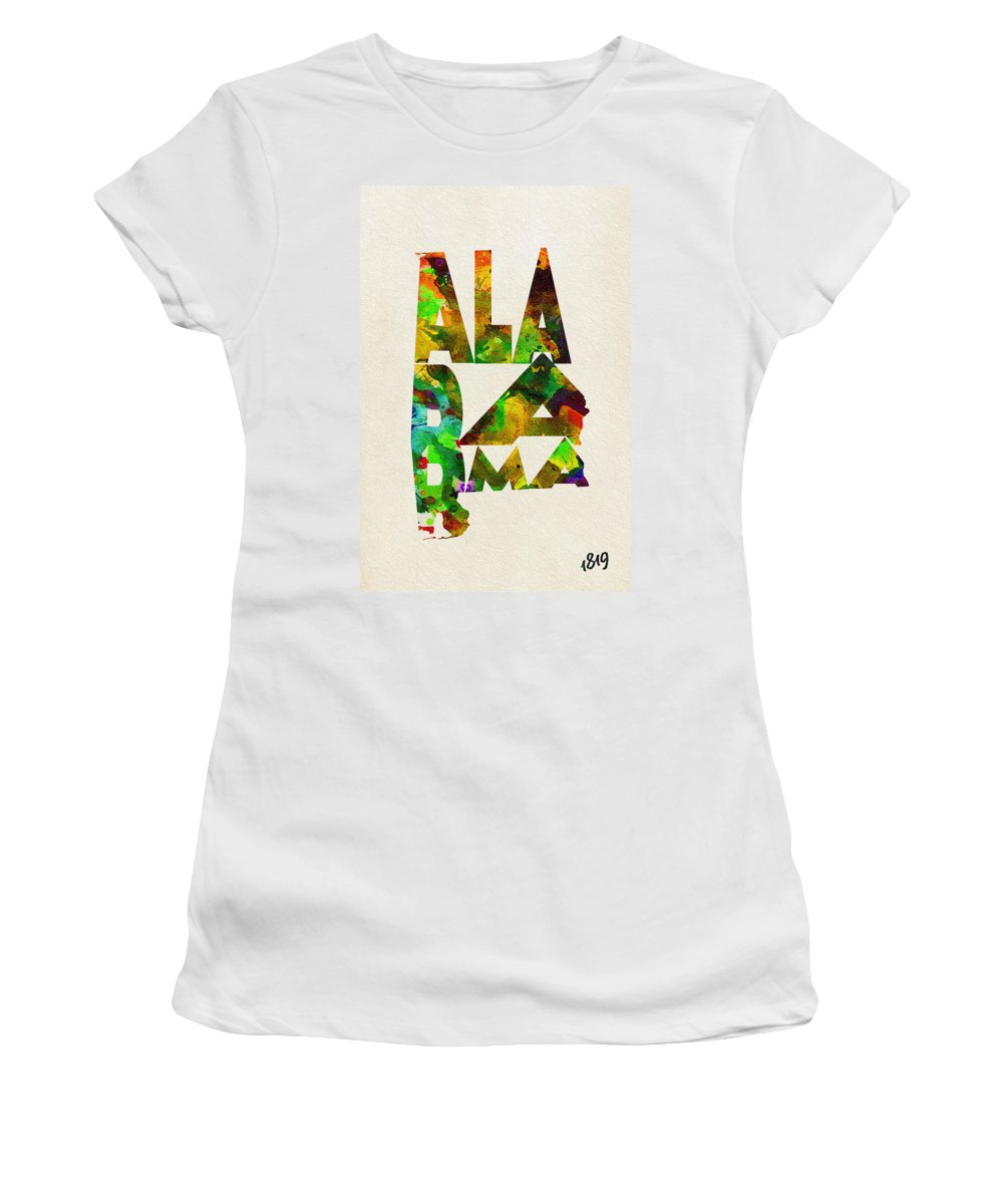 Alabama Women's T-Shirt (Athletic Fit) featuring the painting Alabama Typographic Watercolor Map by Inspirowl Design