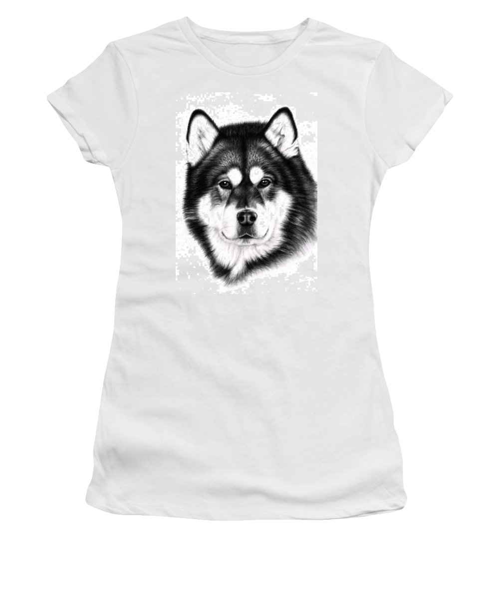 Dog Women's T-Shirt (Athletic Fit) featuring the drawing Alaskan Malamute Portrait by Nicole Zeug