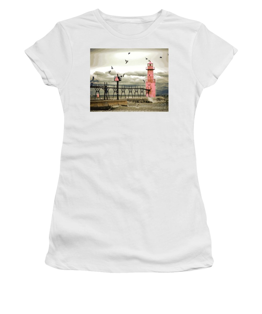 Algoma Pierhead Lighthouse Women's T-Shirt (Athletic Fit) featuring the digital art Algoma Pierhead Lighthouse by Wernher Krutein
