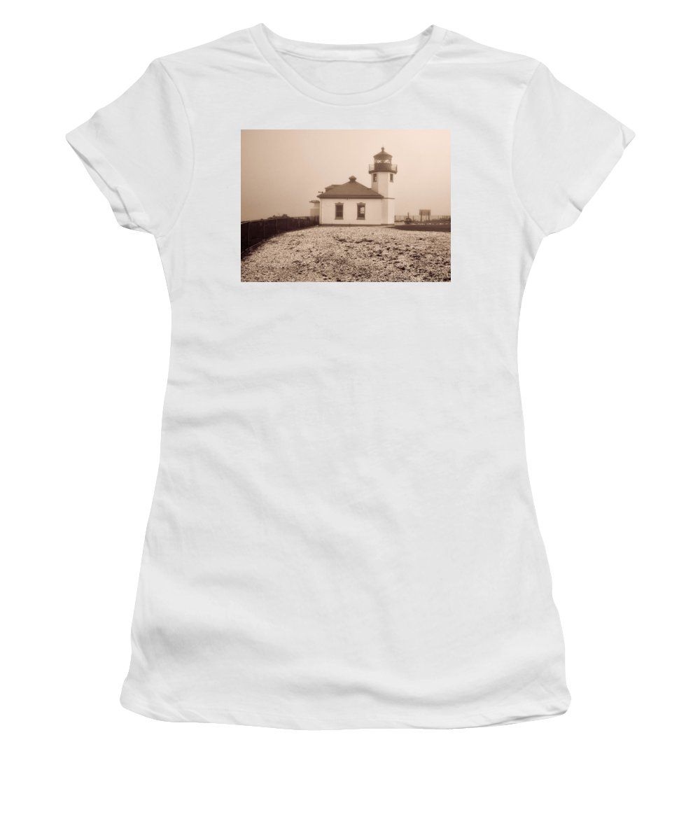 Women's T-Shirt featuring the photograph Alki Point Lighthouse by Cathy Anderson