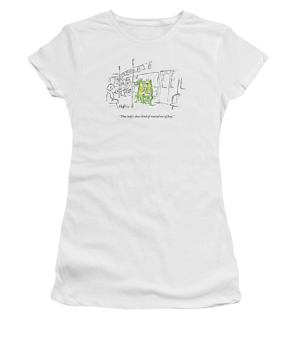 Alligators/crocodiles Women's T-Shirt featuring the drawing Alligators Riding The Subway by Sidney Harris