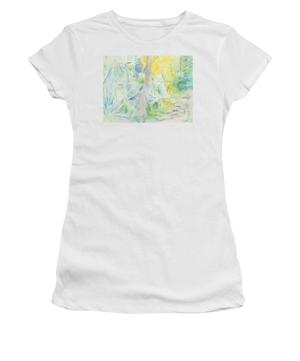 Berthe Morisot Women's T-Shirt featuring the pastel Aloes At Villa Ratti by Berthe Morisot