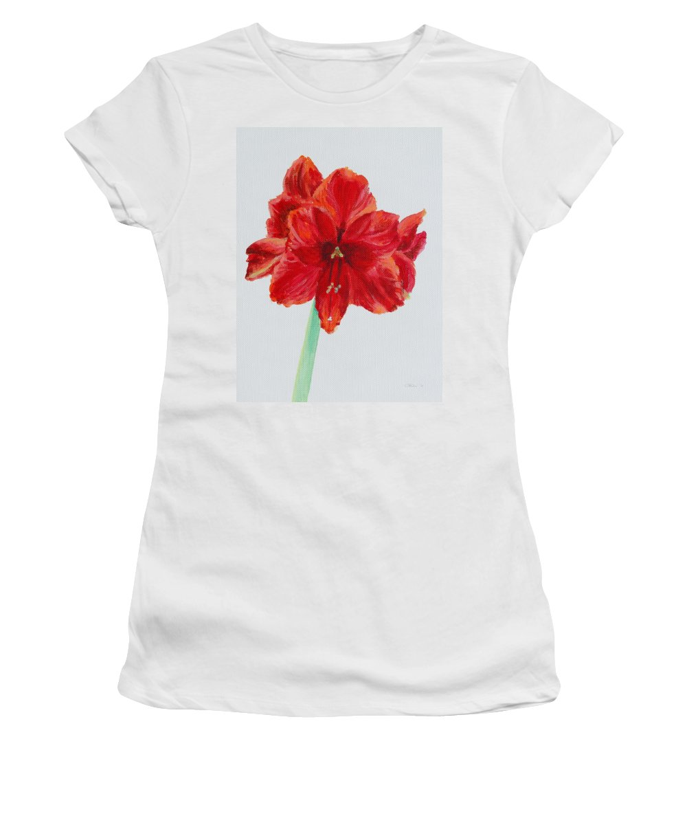 Red Women's T-Shirt (Athletic Fit) featuring the painting Amaryllis by Michele Myers