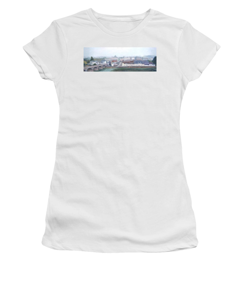 Amboise Women's T-Shirt featuring the painting Amboise And The Loire River France by Jan Matson