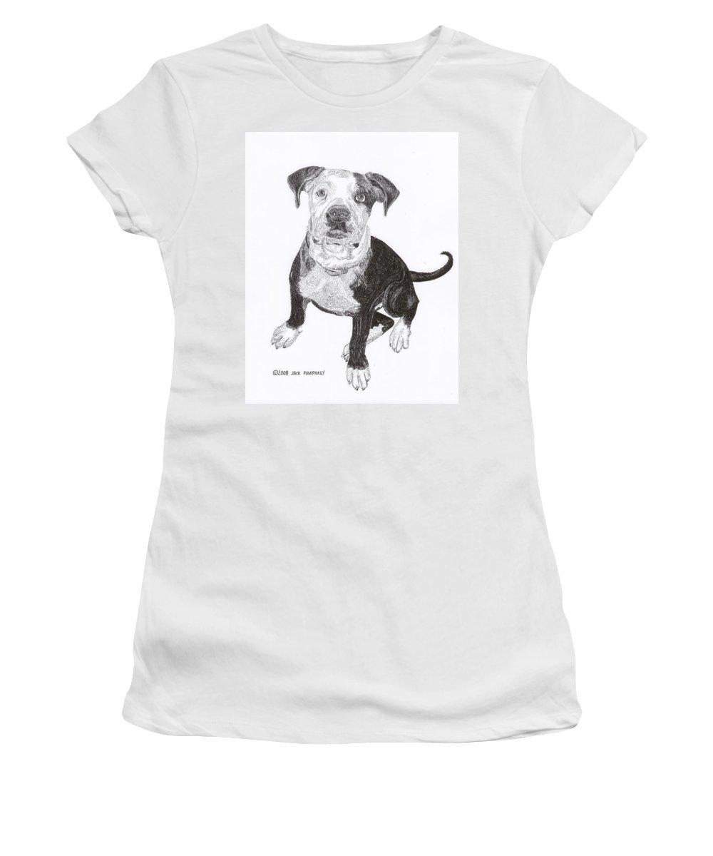 Bull Dog Puppies Women's T-Shirt (Athletic Fit) featuring the drawing American Bull Dog As A Pup by Jack Pumphrey