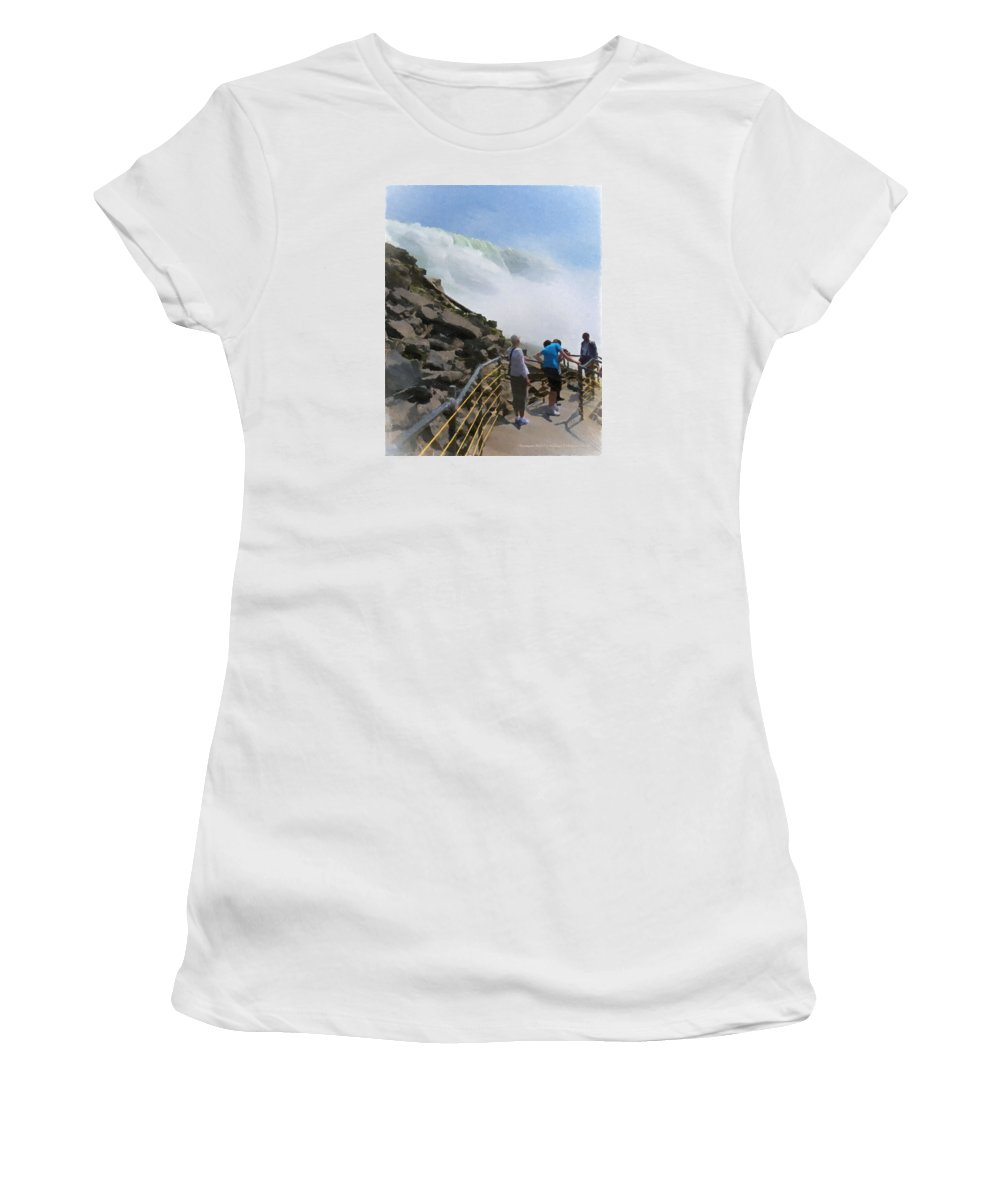 American Falls Women's T-Shirt (Athletic Fit) featuring the painting American Falls by Michael DArienzo