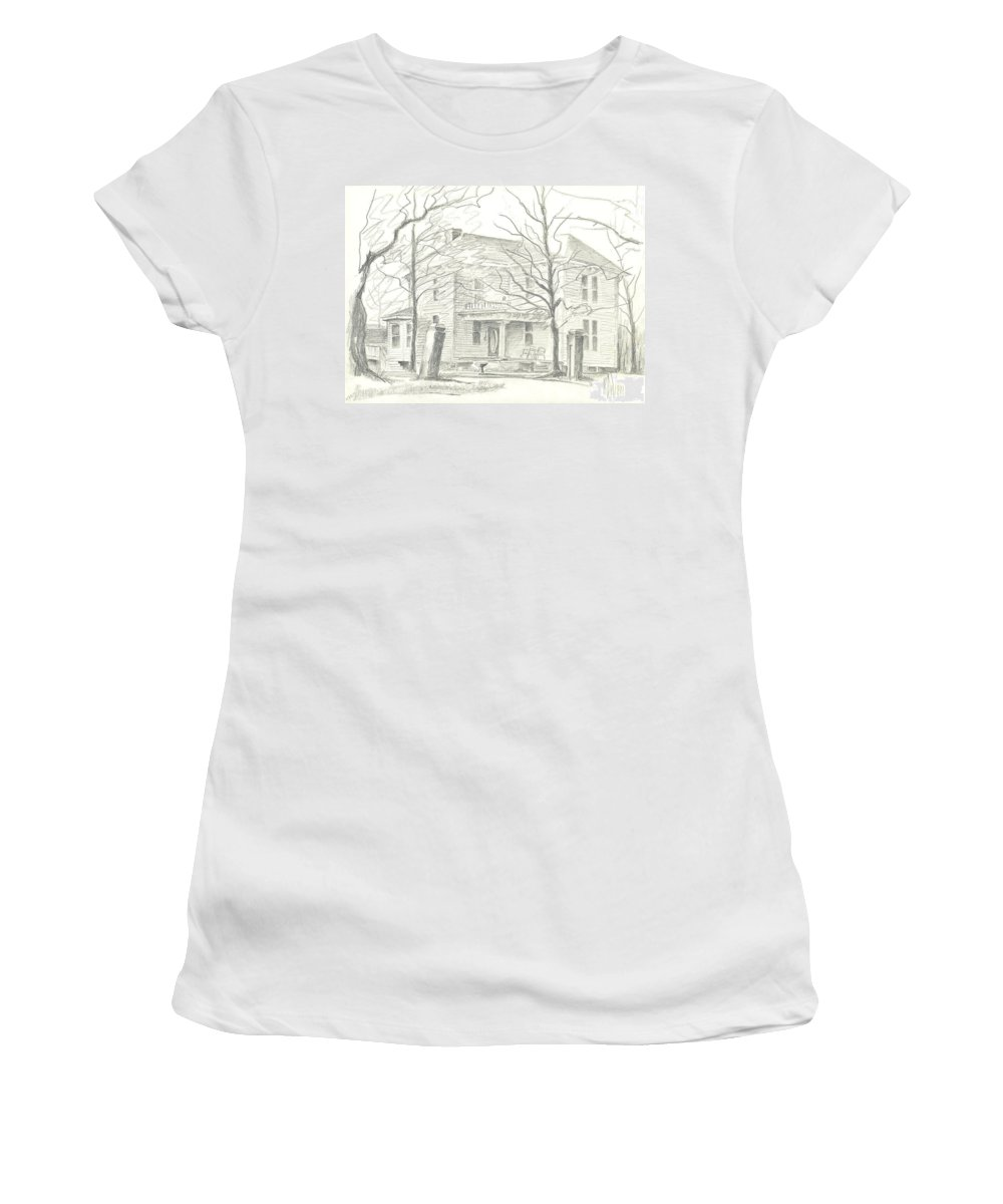 American Home Ii Women's T-Shirt (Athletic Fit) featuring the drawing American Home II by Kip DeVore