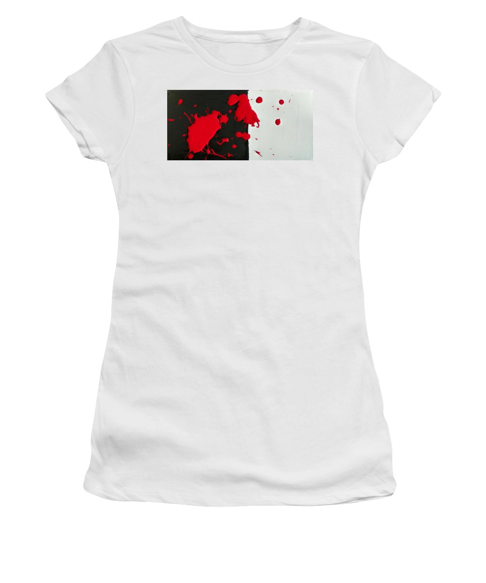 Abstract Women's T-Shirt (Athletic Fit) featuring the painting America's History Of Black And White Thinking by Lenore Senior