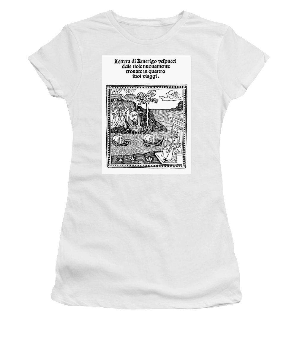 1505 Women's T-Shirt (Athletic Fit) featuring the painting Amerigo Vespucci, 1505 by Granger