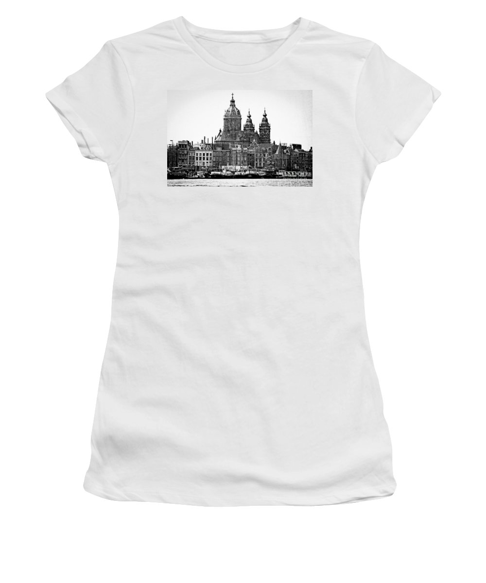 Amsterdam Women's T-Shirt (Athletic Fit) featuring the photograph Amsterdam In Black And White by Jill Smith