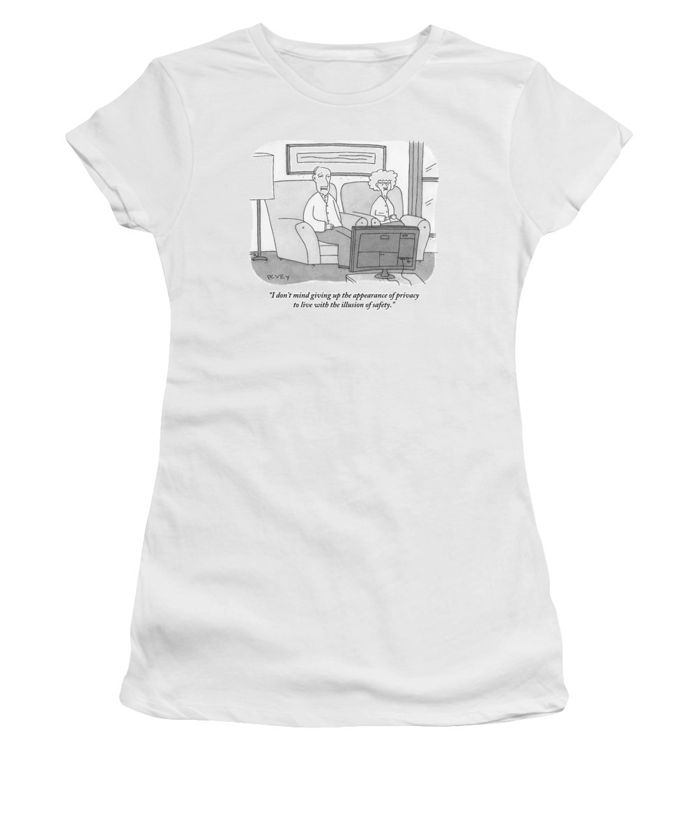 Nsa Women's T-Shirt featuring the drawing An Elderly Couple Watches Television by Peter C. Vey