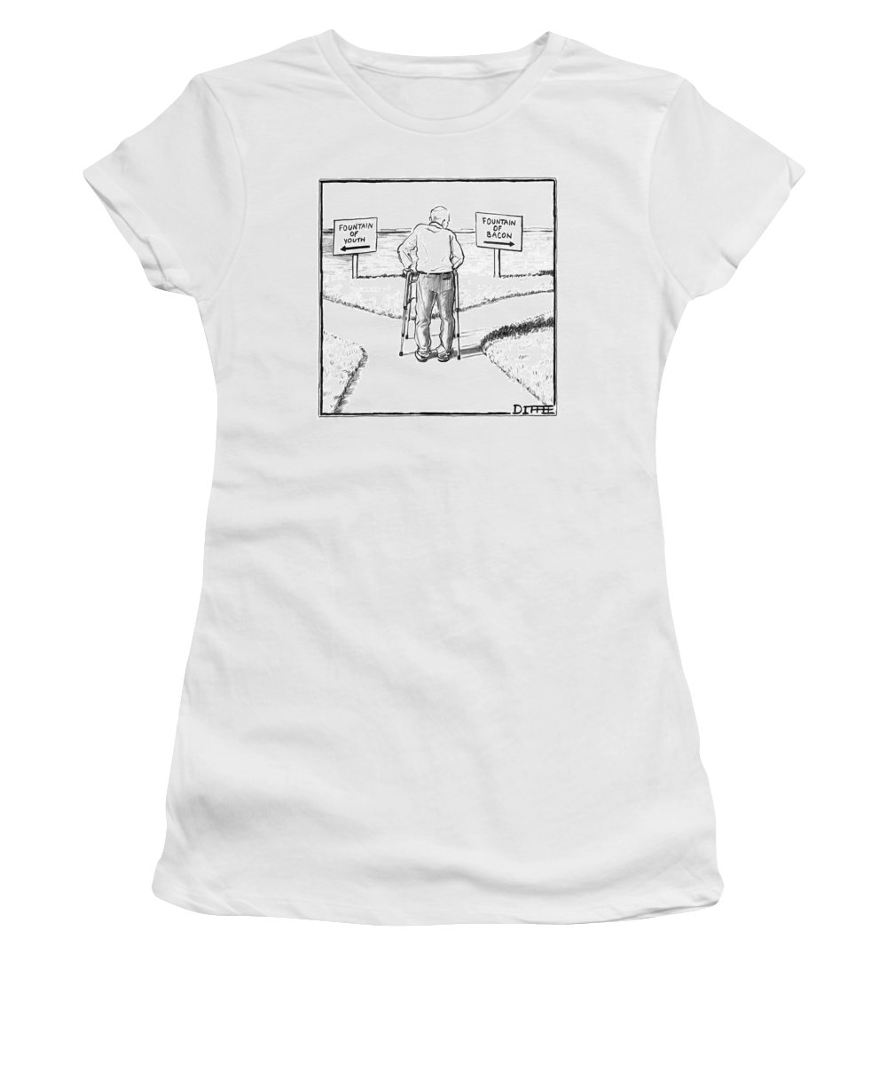 Fountain Of Youth Women's T-Shirt featuring the drawing An Elderly Man Is Seen Standing Next To Two Arrow by Matthew Diffee