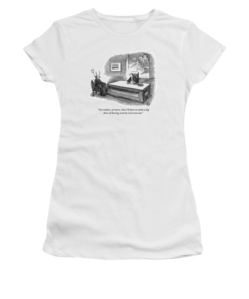 Devil Women's T-Shirt featuring the drawing An Executive Sitting At A Desk Is Speaking by Frank Cotham