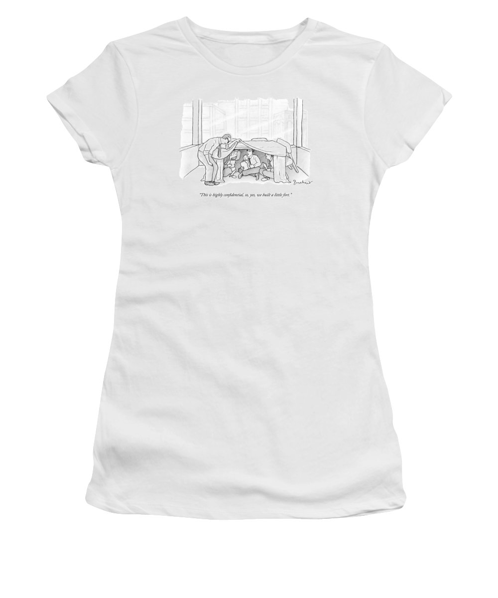 Office Women's T-Shirt featuring the drawing An Office Worker Lifts A Sheet And Finds Three by David Borchart