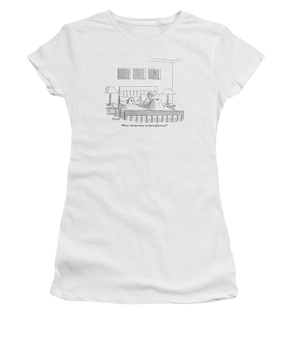 Bedroom Scenes Women's T-Shirt featuring the drawing An Old Couple Sits In Bed Below Three Windows by Jack Ziegler