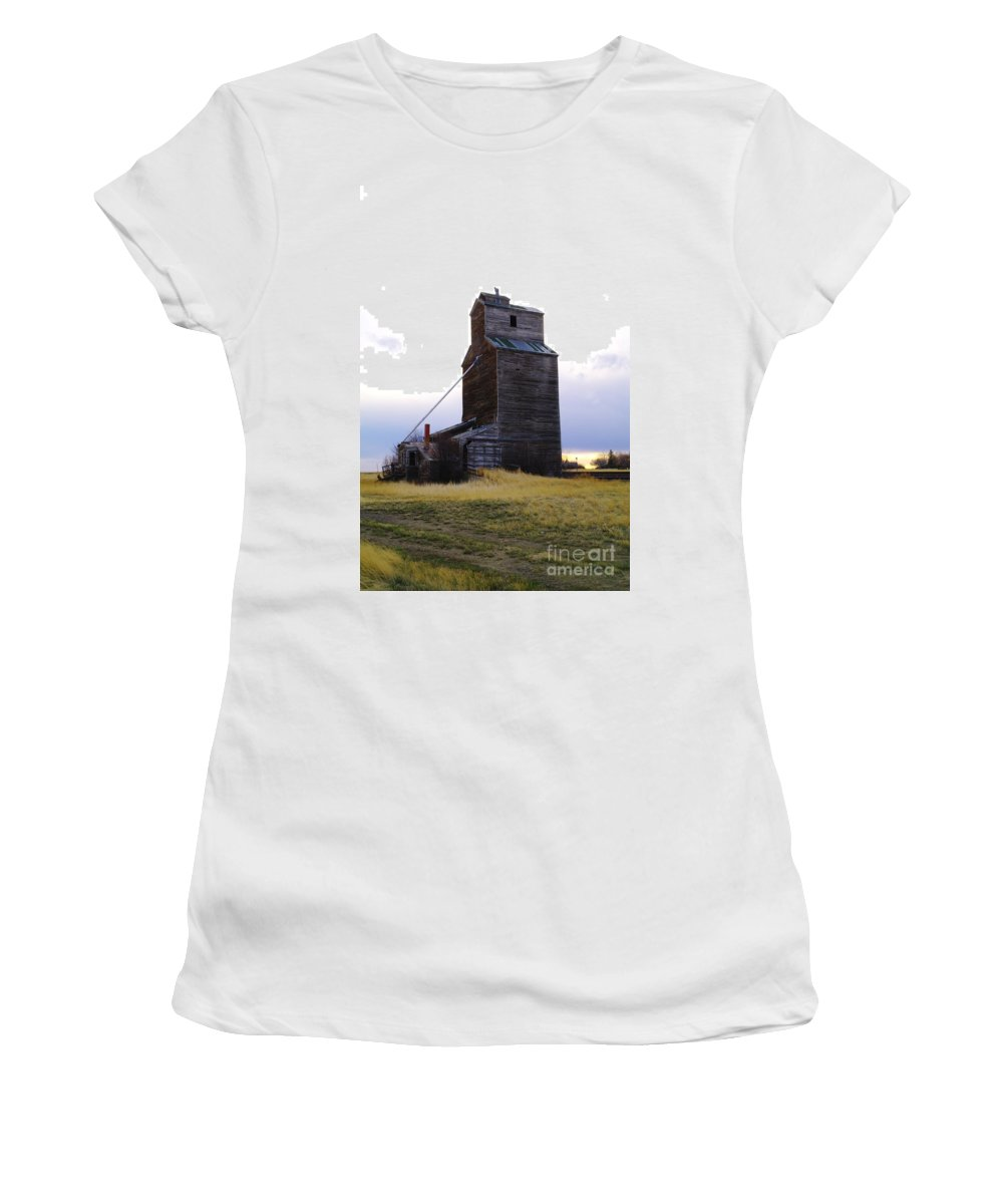 Grain Elevators Women's T-Shirt (Athletic Fit) featuring the photograph An Old Grain Elevator Off Highway Two In Montana by Jeff Swan