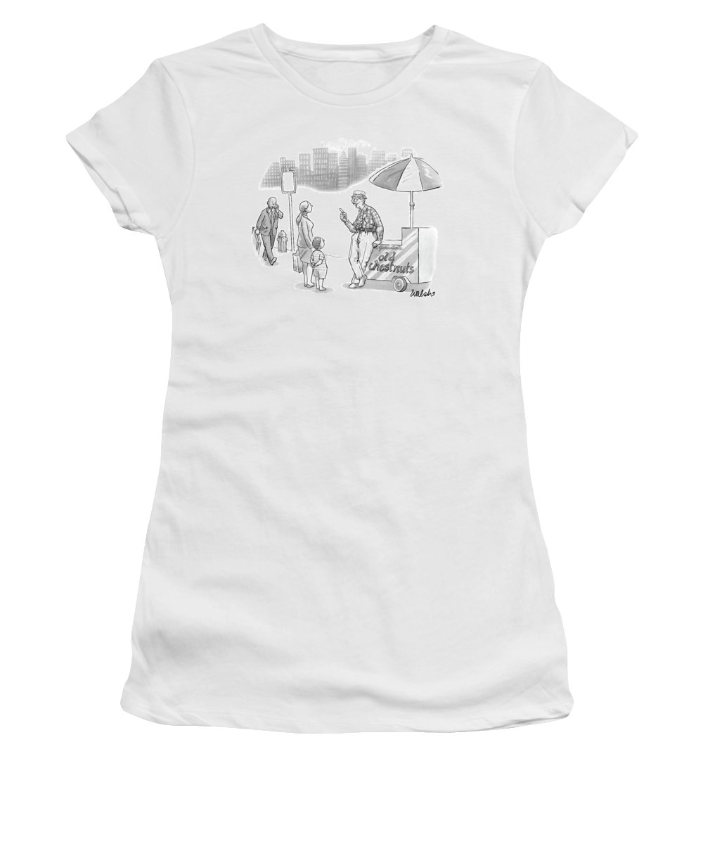 Captionless Old Chestnuts Women's T-Shirt featuring the drawing An Old Man, Leaning On A Cart That Reads Old by Liam Walsh