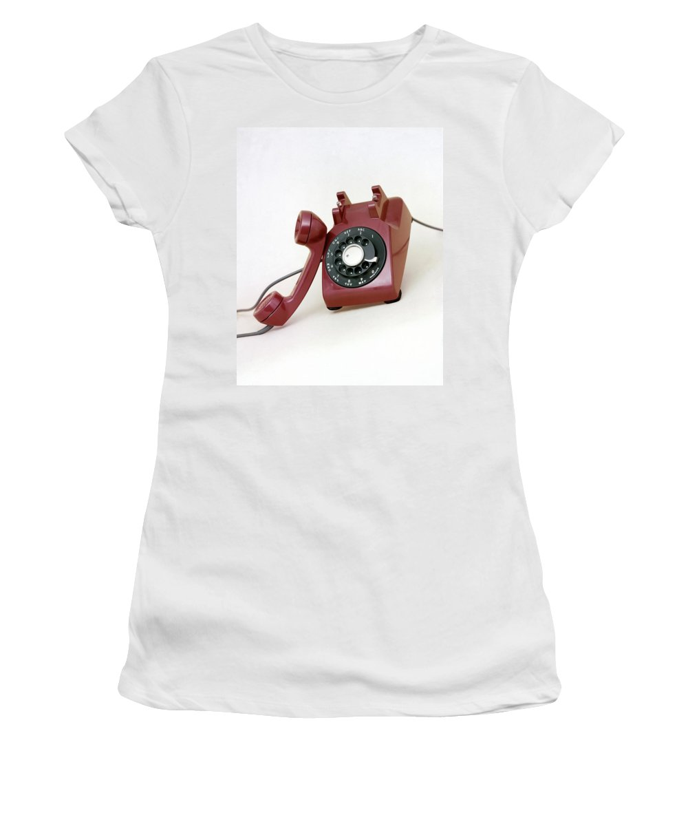 Studio Shot Women's T-Shirt featuring the photograph An Old Telephone by Richard Rutledge