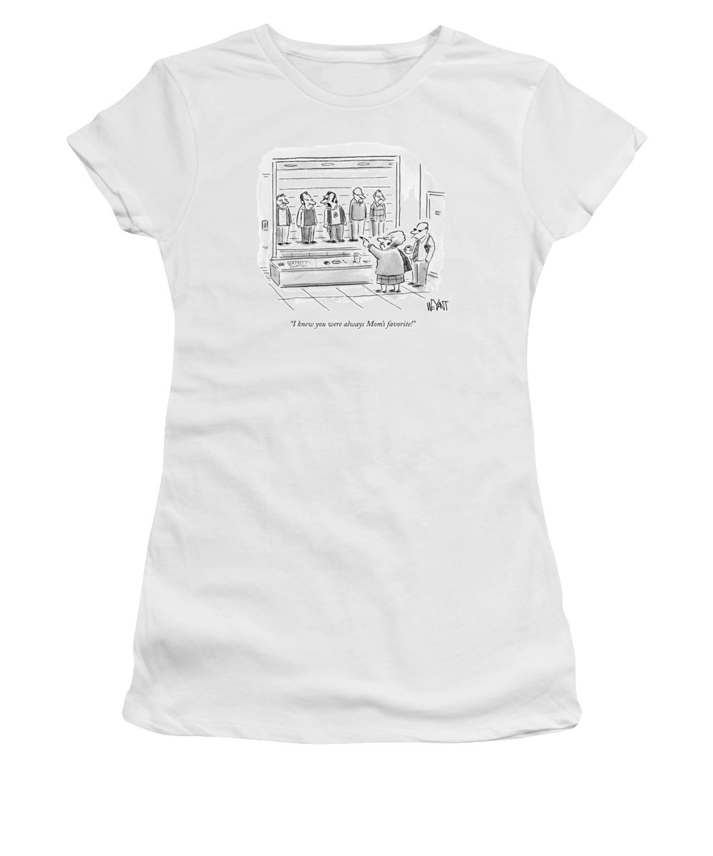 Kids Women's T-Shirt featuring the drawing An Old Woman Points Out A Man In A Police Lineup by Christopher Weyant