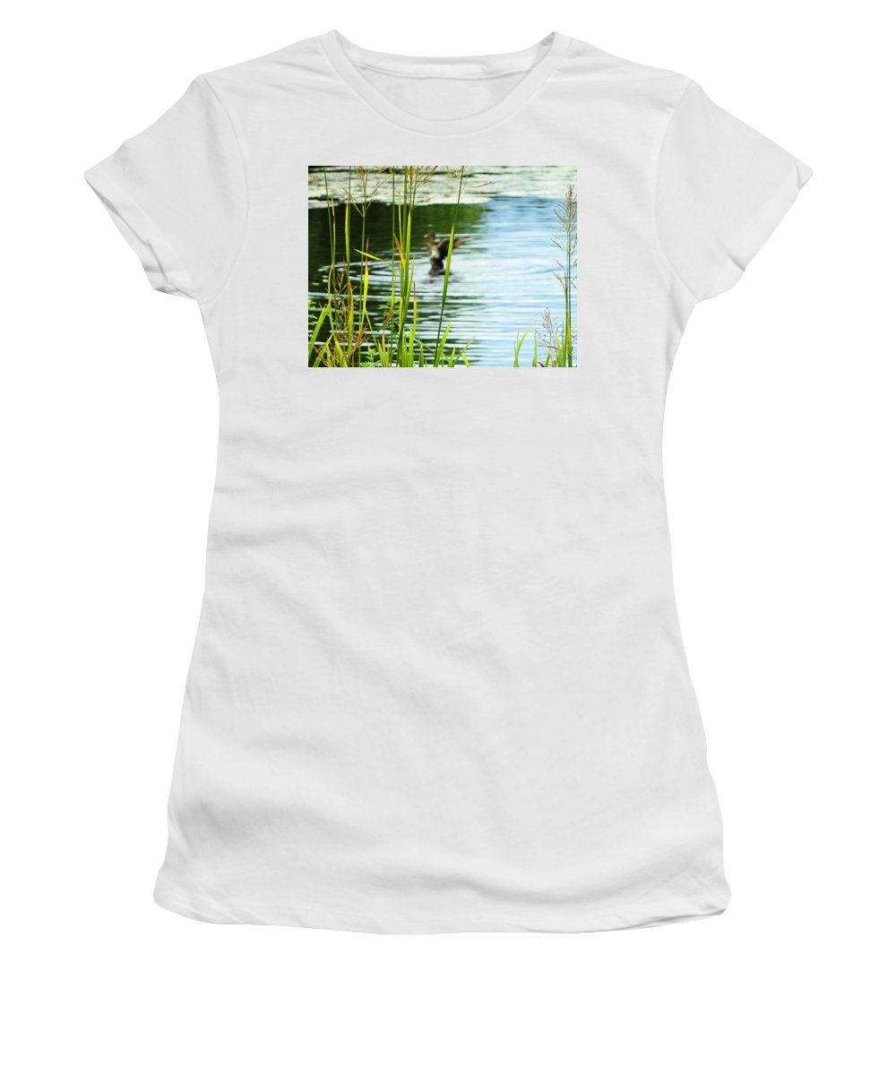 Duck Women's T-Shirt featuring the photograph An Out Of Focus Flap by Steve Taylor