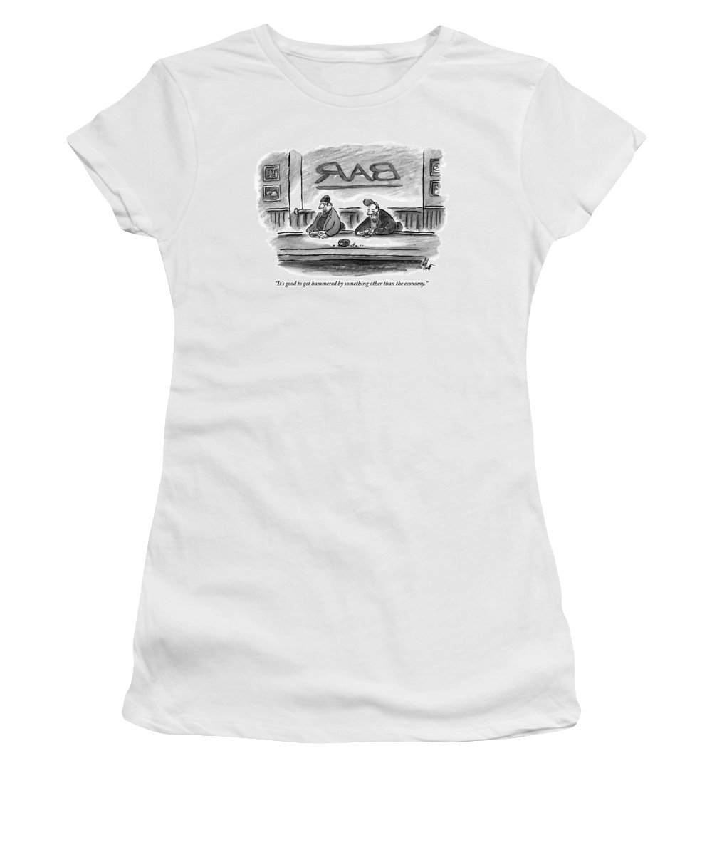 Money Women's T-Shirt featuring the drawing An Unshaven Man Says To Another Man At A Bar by Frank Cotham