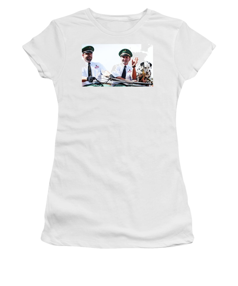 Horizontal Women's T-Shirt featuring the photograph Anheuser Busch Budweiser Clydesdale Drivers And Mascot Usa Rodeo by Sally Rockefeller