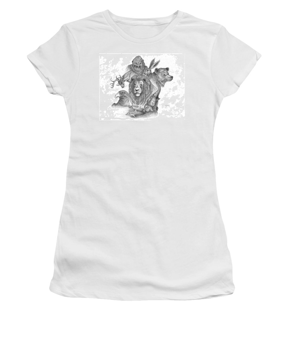 Gorilla Women's T-Shirt (Athletic Fit) featuring the drawing Animal Kingdom by Kami Catherman