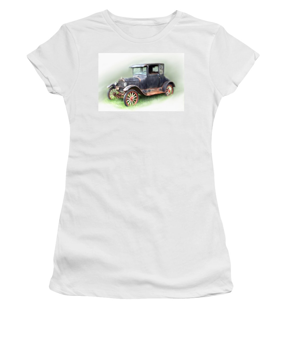 Model T Car Women's T-Shirt (Athletic Fit) featuring the painting Antique Car by Bonnie Willis